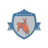 Metallic Rodeo Cowboy Bull Riding Retro Shield