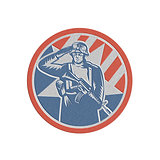 Metallic American Soldier Salute Holding Rifle Retro