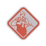 Metallic Soldier Serviceman Military Assault Rifle Shield Retro
