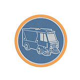 Metallic Street Cleaner Truck Circle Retro
