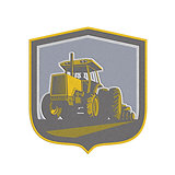 Metallic Farmer Driving Vintage Farm Tractor Plowing Retro