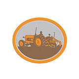 Metallic Vintage Farm Tractor Farmer Plowing Oval Retro