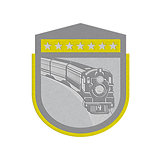 Metallic Steam Train Locomotive Retro Shield