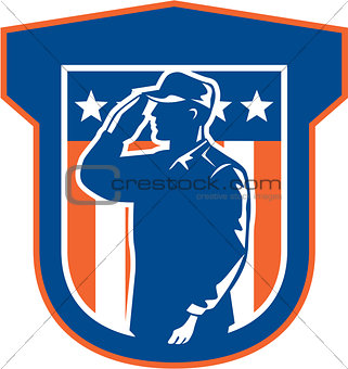 American Miilitary Serviceman Salute Side Crest