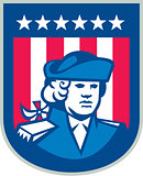 American Patriot Head Bust Shield Retro