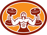 Man Lifting Dumbbell Weight Physical Fitness Retro