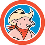 Pig Cowboy Head Circle Cartoon