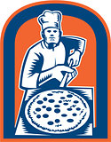 Pizza Maker Holding Pizza Peel Shield Woodcut