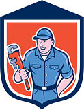 Plumber Holding Monkey Wrench Shield Cartoon