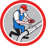 Plumber Pipe Worker Turning on Flow Circle Cartoon
