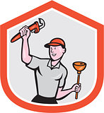 Plumber Holding Wrench Plunger Cartoon