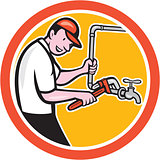 Plumber Monkey Wrench Pipe Circle Cartoon
