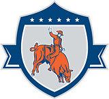Rodeo Cowboy Bull Riding Retro Shield