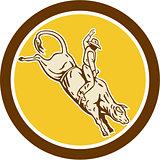 Rodeo Cowboy Bull Riding Retro Circle