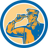 Fisherman Sea Captain Binoculars Circle Retro