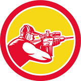 Shooter Aiming Telescope Rifle Circle Retro