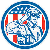 Soldier Military Serviceman Salute Circle Retro