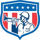 Soldier Blowing Bugle Crest Stars Retro