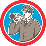 Soldier Blowing Bugle Circle Retro