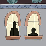 Silhoutte of People in Windows