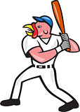 Turkey Baseball Hitter Batting Isolated Cartoon