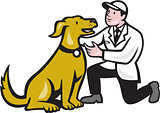 Veterinarian Vet Kneeling With Pet Dog Cartoon