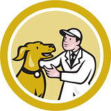 Veterinarian Vet Kneeling Beside Pet Dog Circle Cartoon