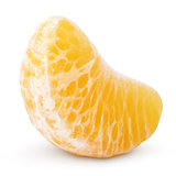 Slice of mandarin orange fruit (tangerine) isolated on white