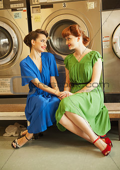 sisters in laundry