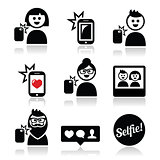 Man, woman taking selfie with mobile or cell phone icons set