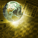Earth, digits and keyboard on money background