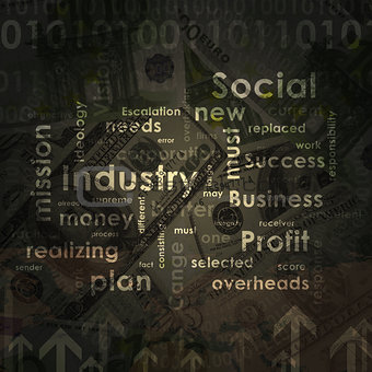 Business words on money background