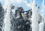 "MOSCOW - July 07, 2014: Fountain ""Four Seasons"" on Manezh Square"