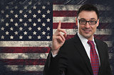 Grunge USA Flag and handsome businessman