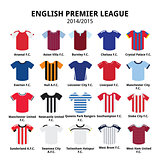 English Premier League 2014 - 2015 football or soccer jerseys icons set