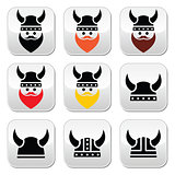 Viking warrior in helmet buttons set