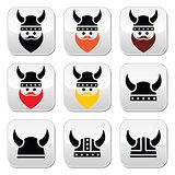Viking warrior in helmet buttons set