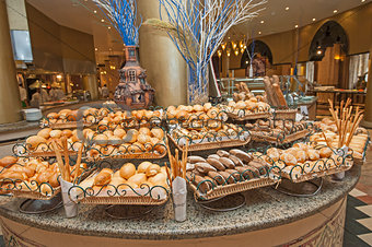 Bread selection at hotel buffet