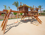 Childrens climbing frame in park