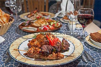 kebab meal on patterned plate
