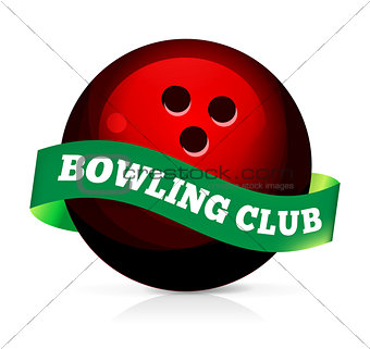 Bowling ball with ribbon