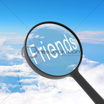 Magnifying glass looking friends