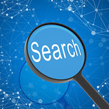 Magnifying glass looking Search