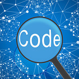 Magnifying glass looking Code