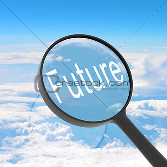 Magnifying glass looking Future