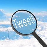 Magnifying glass looking Tweet