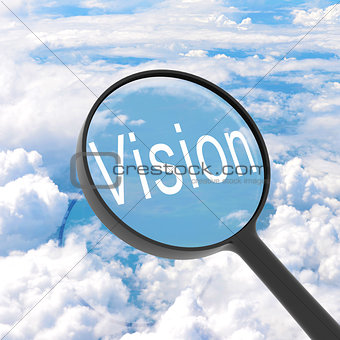 Magnifying glass looking vision