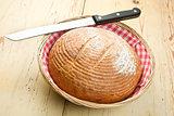 round bread on kitchen table