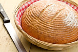 round bread on kitchen table