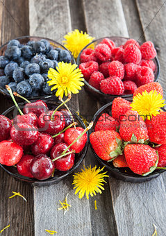 Fresh cherry, strawberry, blueberry and raspberry